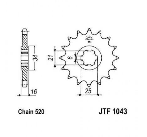 Piñon JT 1043 de acero con...