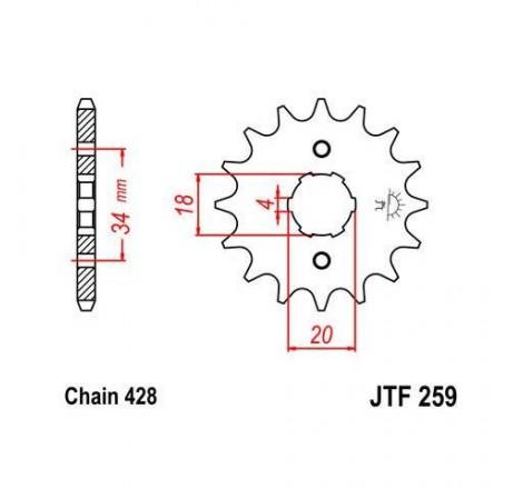 Piñon JT 259 de acero con...