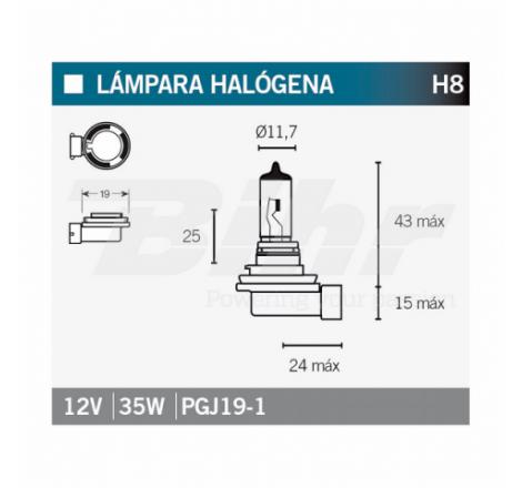 LAMPARA HALOGENA H8