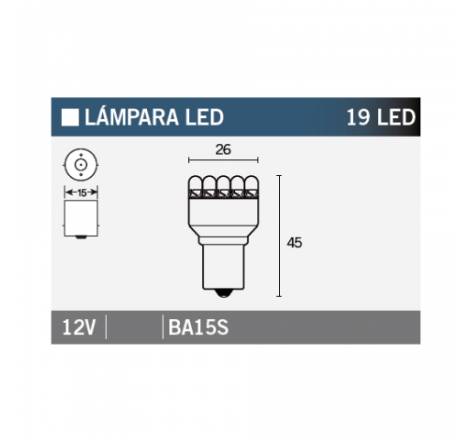 LAMPARA 19LED BA15S